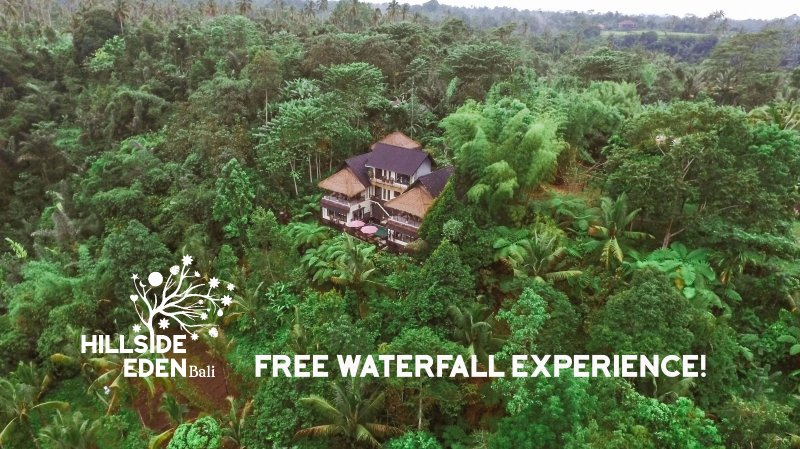 The villa from the air, the waterfall is in front, a 20 adventurous  minute hike. - Hillside Eden Private Jungle Estate - Stunning Service & Views - Ubud - rentals