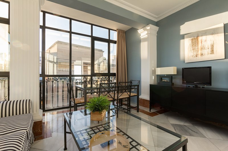 Bright living room with large glass walls and views over Seville's historic centre. - Alcazar VIII. 3 bedrooms and 2 bathrooms next to the Cathedral - Seville - rentals