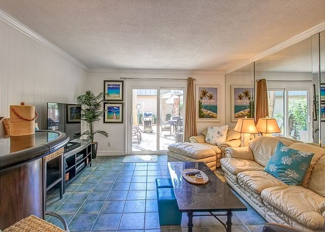 Living Area - 13 Ocean Club-Fully Renovated w/ Private Patio- Steps to Pool & Beach - Hilton Head - rentals