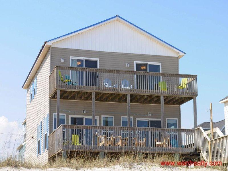 Oceanfront Exterior - Spacious 4 BR duplex with amazing views from oceanfront decks - Best Friends - North Topsail Beach - rentals