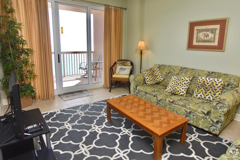 Cozy living room - Take $250 off any week in June!  Beachfront condo, 2Bdrm+Bunk Rm w/beach chairs - Panama City Beach - rentals