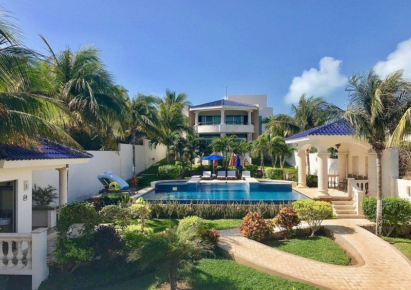 View of Main Villa, Pool and Gardens - Casa De Las Palmas Ocean Front Oasis up to 16 - Isla Mujeres - rentals