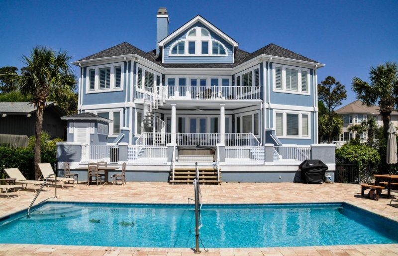 Pool with New Bath House - Direct Oceanfront Home with Largest Oceanfront Pool Walk to Coligny - Hilton Head - rentals