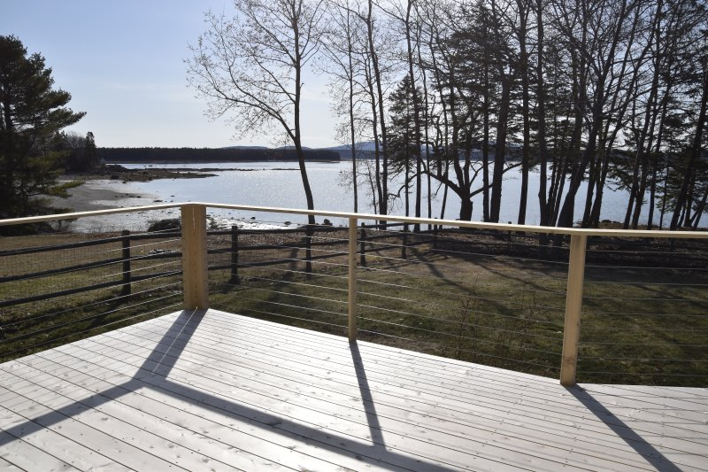 New large cedar deck with a view. Will have dining and conversation seating. And Weber grill. - Oceanfront 200' private shore, sunrise over Acadia - Bar Harbor - rentals