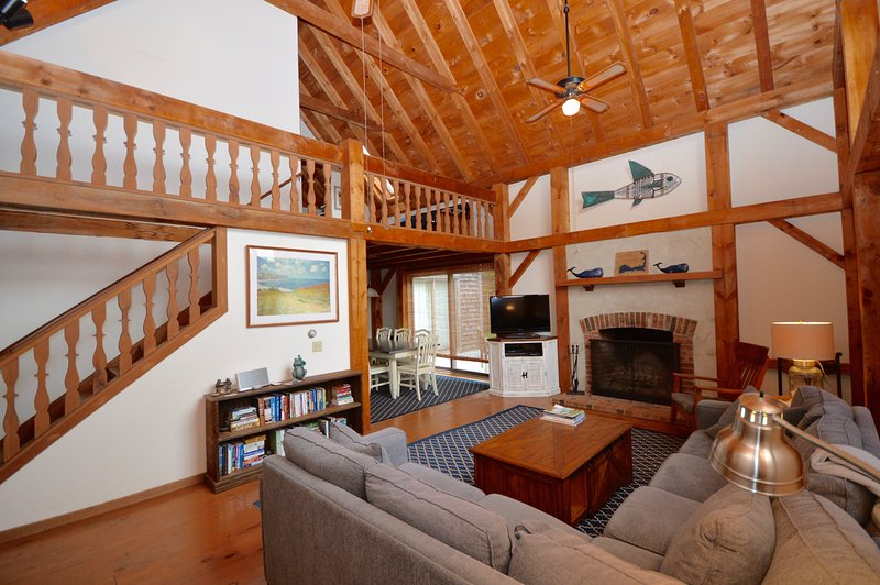Beautiful living room with vaulted ceiling, large windows and flat screen TV - 350 Yards from Nauset Beach - Orleans - rentals