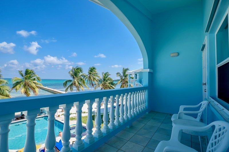 Private veranda/balcony for large upstairs bedroom! - A6: Beachfront with verandas, pool, bikes & kayaks - San Pedro - rentals