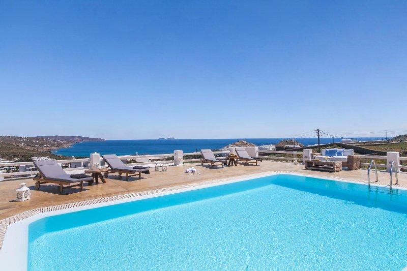 Mykonos -  Gv - Sunshine Villa  I with  pool & marvelous seaviews  sleeps 10 - Image 1 - Mykonos - rentals