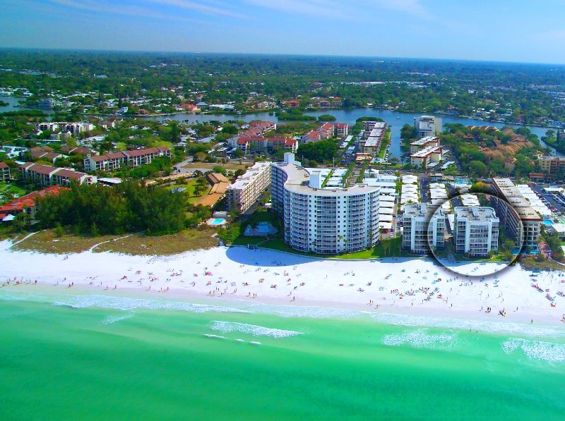 Aerial view of Crescent Arms on Crescent Beach - Crescent Arms Crescent Arms Unit 305S - Siesta Key - rentals