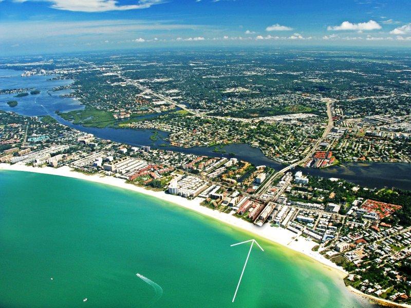 Aerial image of Sea Shell Condo - directly on world famous Crescent Beach Siesta Key Florida - Sea Shell Sea Shell Unit 102 - Siesta Key - rentals