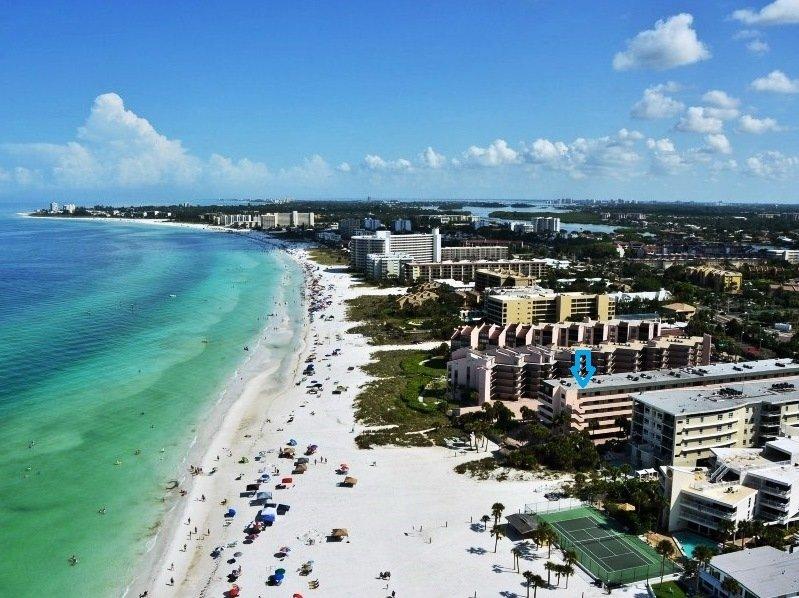 Aerial image of Sea Shell Condo - directly on world famous Crescent Beach Siesta Key Florida - Sea Shell Sea Shell Unit 308 - Siesta Key - rentals