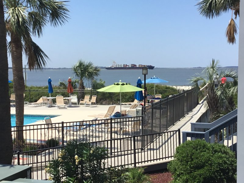Our large, beautiful pool sits directly on Tybee's north beach;  and new boardwalk, next to the pool - Pool/Ocean view, King bed, Glorious Sunsets! - Tybee Island - rentals