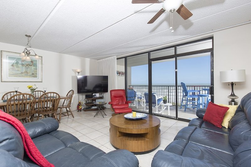 Living room area with great view of the beach - Suntide III 706 - South Padre Island - rentals