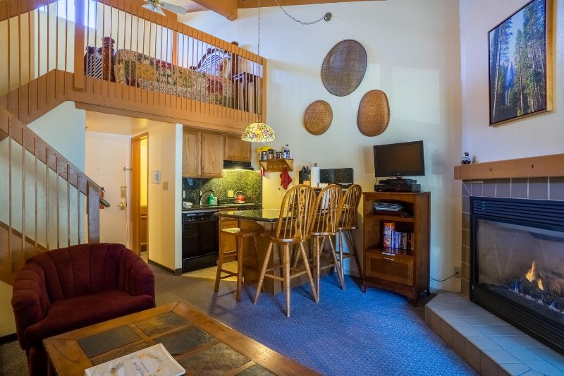 """View of your living area, kitchen and loft. - """"Eagles Loft"""" - Yosemite West Condo Inside the Park - Sleeps 6!!! - Yosemite National Park - rentals"""