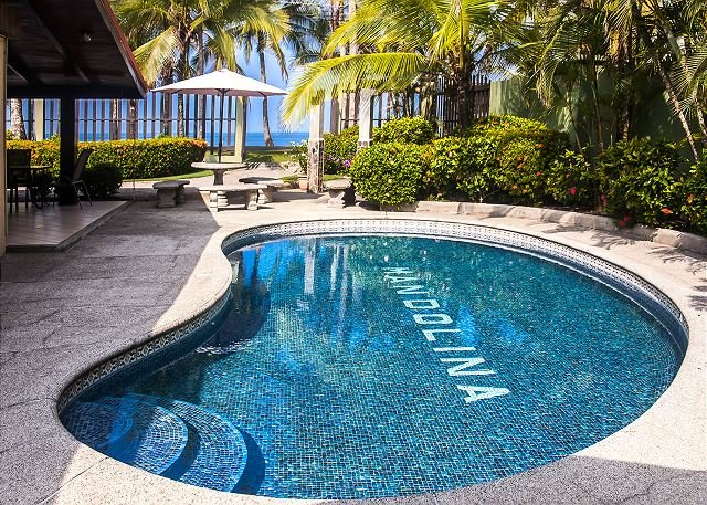 Pool area with charcoal grill - Beachfront home in south Jaco, pool, grill, WiFi, yard, hammock, walk to town - Jaco - rentals