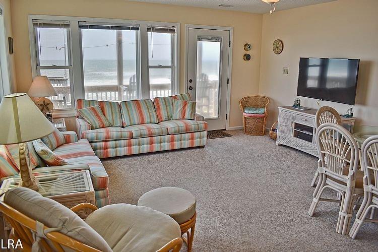 Living Area - Carolina Joy North - Spectacular Oceanfront View, Beach Access, Near Shopping - Surf City - rentals