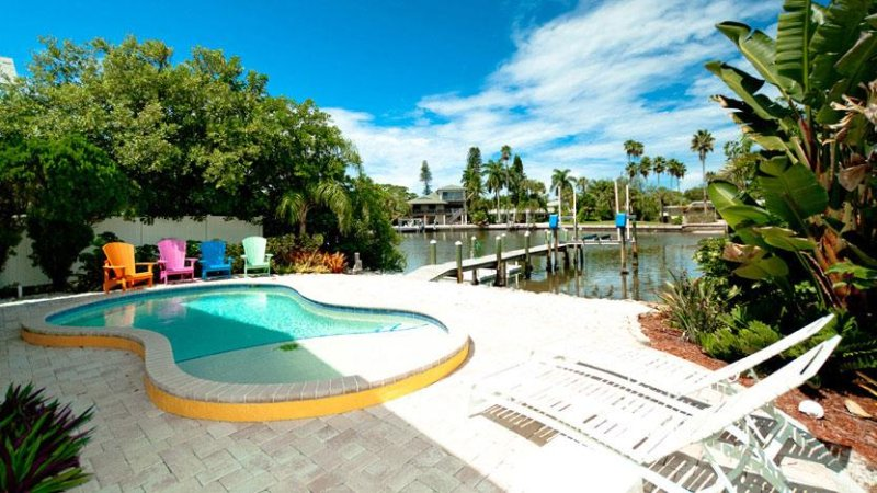 Pool with a Canal View - Starfish Dreams: 2BR Canal Home w/Dock & Pool - Anna Maria - rentals