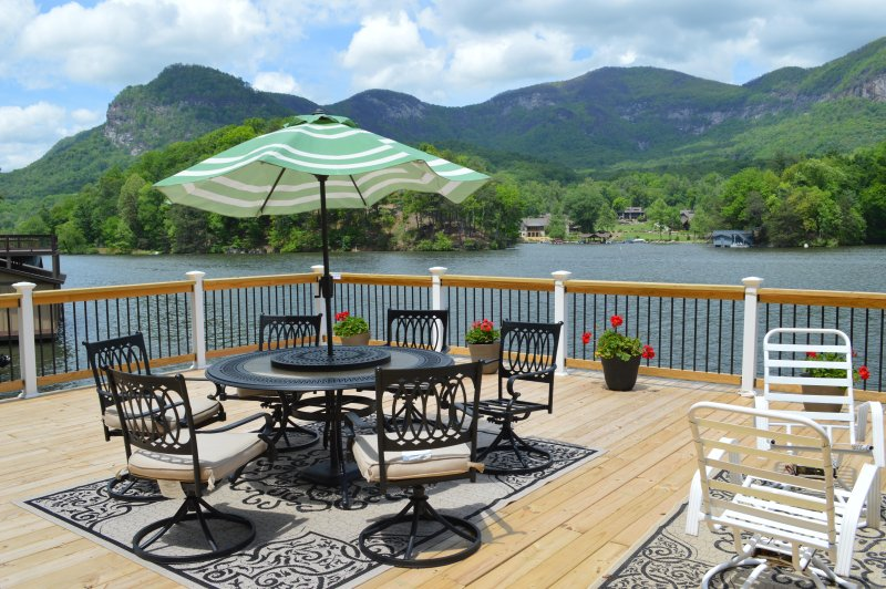 Grand view of the Mountains and the Lake from the deck and the Den. - Lakefront  Most Spectacular views lake,Mountains - Lake Lure - rentals