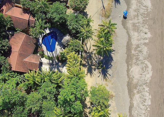 Aerial view of Casa Milagro on the beach - Beachfront rustic luxury villa, pool, gazebo, BBQ, hammocks, WiFi, sleeps 4-8 - Jaco - rentals