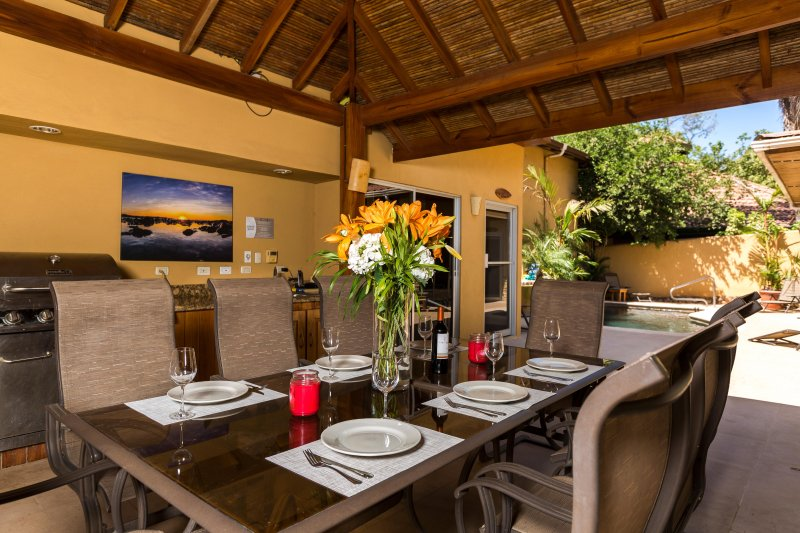 Common Area Outdoor Dining/BBQ/Rancho and Pool Area! Great to ENjoy those warm tropical nights! - Casa Gecko- Private Studio a block from the beach - Tamarindo - rentals