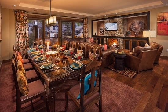 Living and Dining Room with Fireplace - One Steamboat Place Zen Mountain Residence - 3BR with Slope View - Steamboat Springs - rentals
