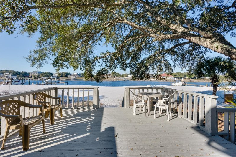 Walk out the sliding door to this view and beach! Covered patio w/grill, live oak for shade, Lg Deck - July 9-15 $259/nt ~Beach House w/Private Beach! 4 Bdrm, Waterfront, Pet Friendly - Perdido Key - rentals