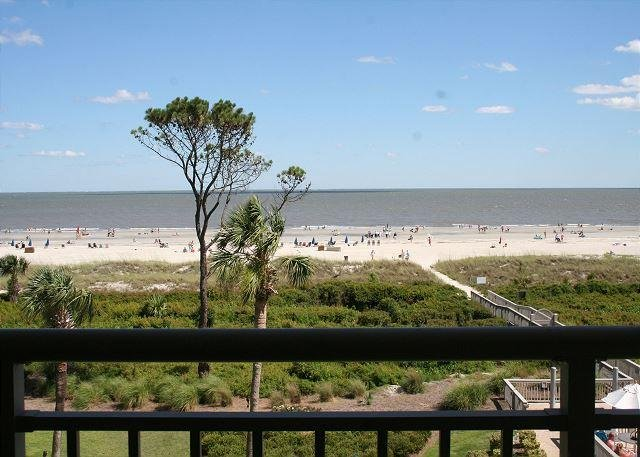 View from Private Balcony off Living Room - 2 Bedroom Oceanfront Villa with Private Oceanfront Balcony & Oceanfront Pool! - Hilton Head - rentals