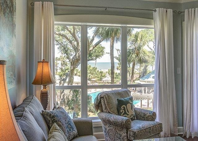 Living Area View - 3205 WCS - Beautiful OCEANVIEW luxury villa w/ Oceanfront Pool - Hilton Head - rentals