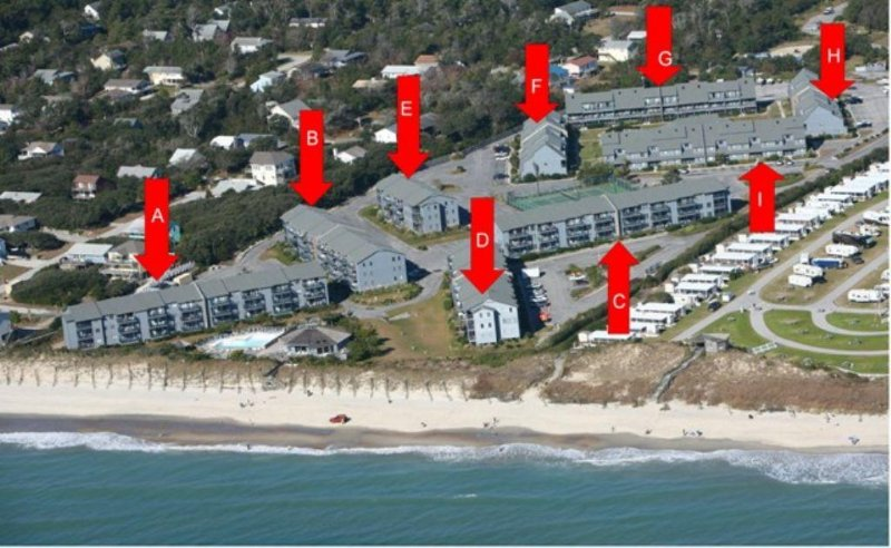 Aerial View of Building Location PB - Pebble Beach A-305 - Emerald Isle - rentals