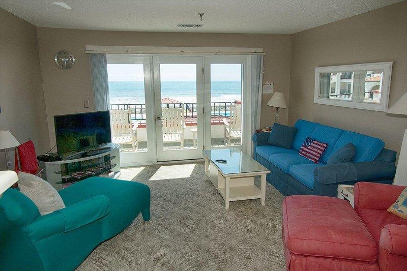 Living Room - Villa Capriani 301-B Oceanfront | 3 Pools, Largest Pool on NC Coast, 2 Hot - North Topsail Beach - rentals