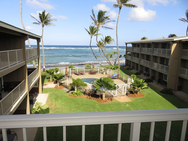 Lanai view. - Kauai Oceanfront 3 Bedroom Condo Vacation Rental By Owner - LOADED Full Kitchen - Kapaa - rentals
