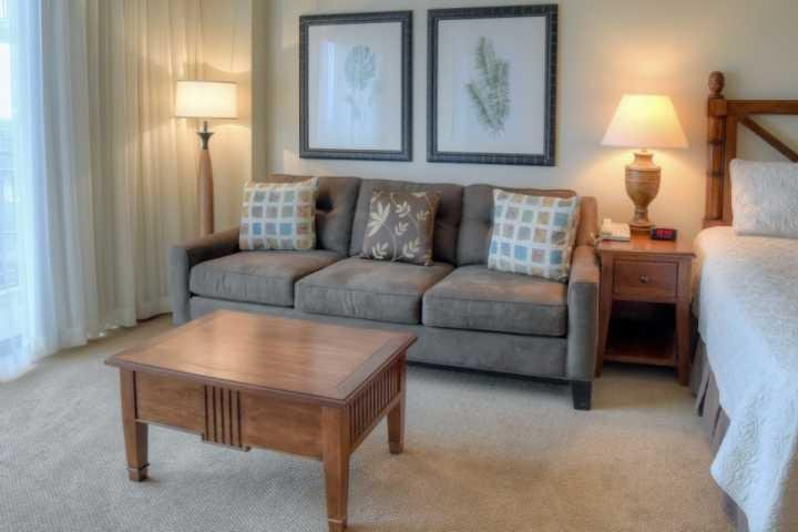 Relax on the sofa, which makes out to a queen size bed. - 1313 Origin at Seahaven - Panama City Beach - rentals
