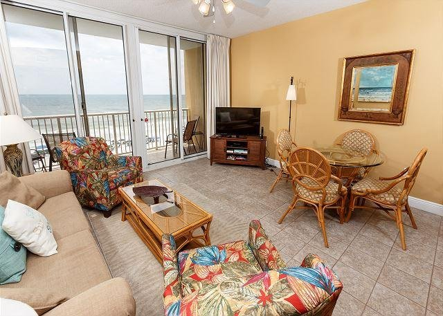 This beach front living room offers unforgettable views of the G - WE 507: Cozy & updated 5th floor,directly on BEACH, WIFI, Bch Srvc, FREE GOLF - Fort Walton Beach - rentals
