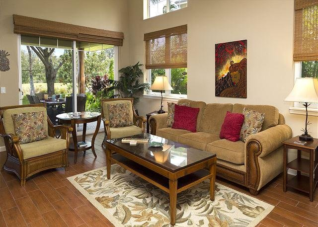 LUXURY LIVING ROOM - 3BR TOWNHOME WITH GOLF VIEWS & BBQ! - SUMMER SPECIAL! 7TH NIGHT COMP! - Waikoloa - rentals