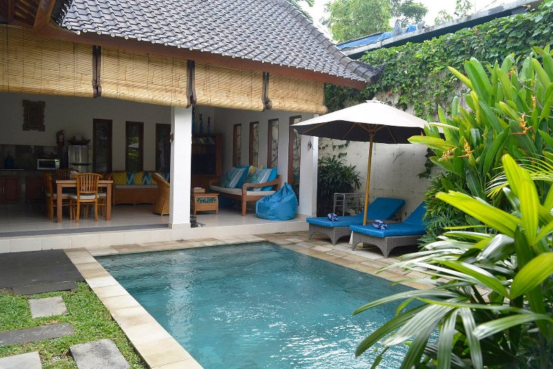 The pool is central to this magnificent villa and it even has a removable pool fence if required. - Villa Mewali - private 2 bedrooms with pool. - Sayan - rentals