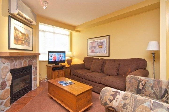 Bright living space with Fireplace, Sofa bed, AC and TV - Deer Lodge Unit 349 - Whistler - rentals