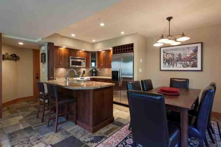 Open concept kitchen, breakfast bar and dining for 6 - Valhalla Unit 6 - Whistler - rentals