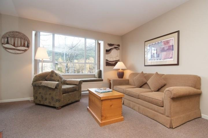 New Sofa with queen bed, note the lovely window seat in the rear of the photo - Eagle Lodge Unit 432 - Whistler - rentals