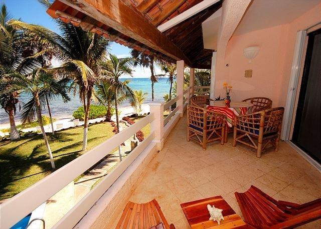 Balcony - Akumal Direct, Seven Seas Condos Beach Front, Pool, Perfect! - Akumal - rentals