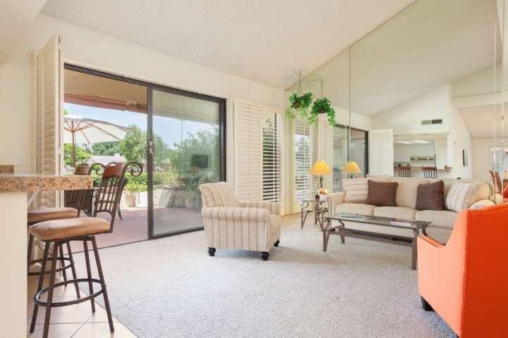 Open and airy living area. - Gorgeous Mountain & Fairway Views! 3 Bdrm/3 Bath  Monterey Country Club - Palm Desert - rentals