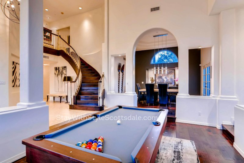 BilliaMedia room with 80 inch TV with fully automated sound system - Luxury 7 Bedroom Home with Gorgeous Backyard in Most Desired Part of Scottsdale - Scottsdale - rentals