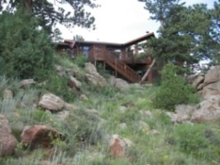 View of Home From Below - Sunrise on the Rockies - Estes Park - rentals