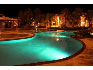 Malibu Beachfront Pool area at night - 3/2 Condo Beachfront 3 Pools 14 miles E of SJU - Loiza - rentals