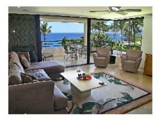 View of the living room and lanai overlooking water - Wailea Luxurious Beachfront  2br,2ba on Polo Beach - Wailea - rentals