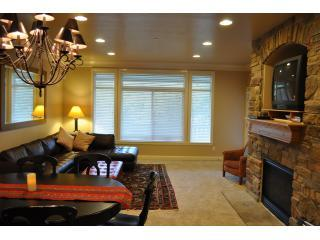Living room; flat screen t.v, windows galore, step out to patio.JPG - Best Price Snowbasin! Lakeside. Sleeps 13. Walk to Lake. Garage/Private Hot tub. - Huntsville - rentals