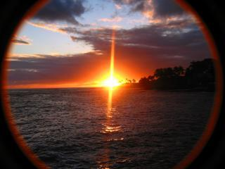 Kauai - Sunset from Kuhio Shores - Best Place to Stay in Hawaii, 35' from the surf - Poipu - rentals