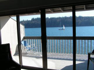 Water view from living room, kitchen and two bedrooms - Puget Sound Beachfront Condo--Spectacular Views!! - Port Ludlow - rentals