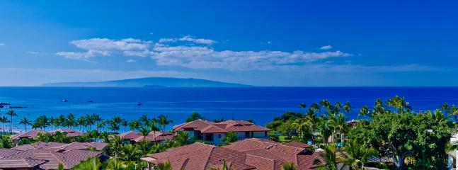 Panoramic Ocean and Beach Views. It's hard to show in this photo but you CAN see Wailea Beach from K508! The ocean is closer than it appears in this photo. - Sandy Surf K508 Wailea Beach Villas - Wailea - rentals