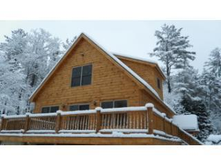 Front of House in Winter - Brand New Chalet with Fireplace and Hot Tub - Bethel - rentals