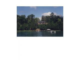 View of the house from lake.JPG - Charming Renovated Log Cabin on Deep Crystal-Clear - Grand Rapids - rentals