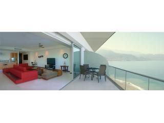 Balcony/living south view - Stunning Luxury Beach front Tower 3, Peninsula. - Puerto Vallarta - rentals